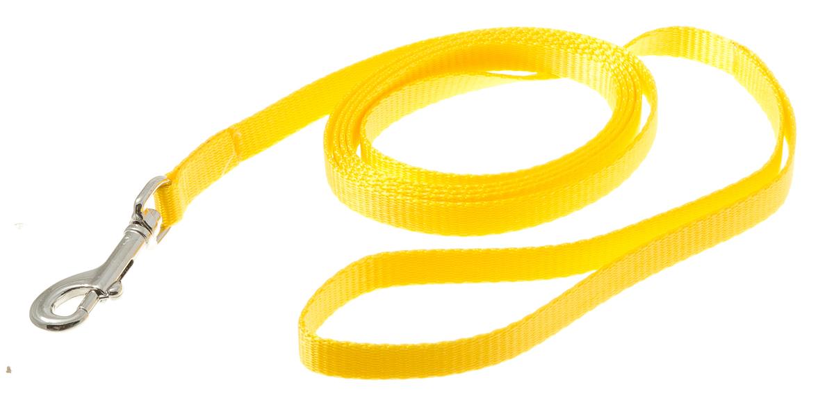 Поводок для собак V.I.Pet, цвет: золотой, ширина 10 мм, длина 2 м73-0933Поводок с карабином V.I.Pet, изготовленный из нейлона, предназначен для выставок и повседневного выгула. Материал поводка отличается повышенной прочностью, мало подвержен механическому воздействию, поэтому надолго сохранит аккуратный внешний вид и насыщенность цвета. Вращающийся вертлюг карабина предотвращает перекручивание поводка.