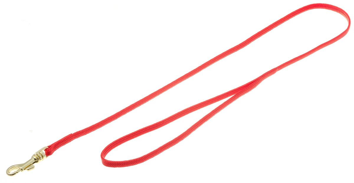 Поводок с золот. карабином (лента-чулок) 5 мм*70 см (красный) 73-2447