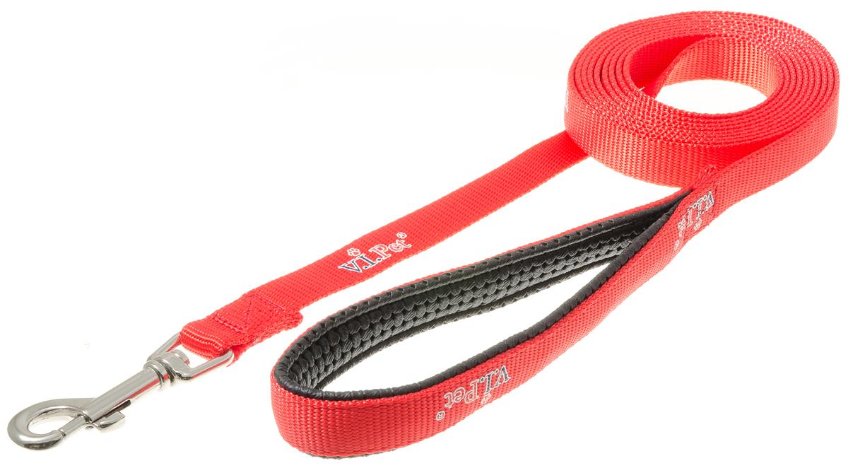 Поводок с карабином с неопреновой ручкой V.I.Pet (красный) 20мм*3м 73-249673-2496