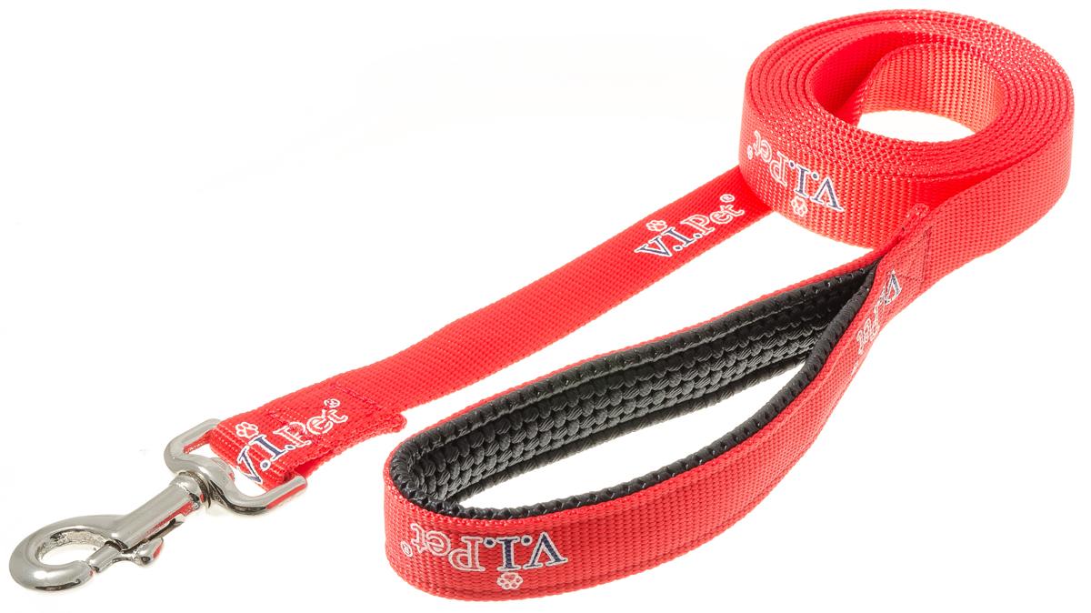 Поводок с карабином с неопреновой ручкой V.I.Pet (красный) 25мм*3м 73-250073-2500