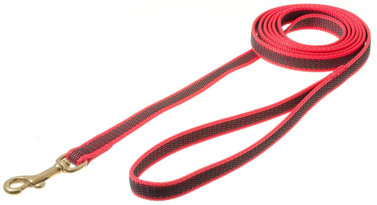 Поводок с карабином профессиональный с латексом 15мм*2м (красный) (бронзовый карабин) 73-258273-2582нейлон;латекс;бронзовый карабин