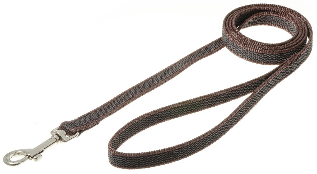 Поводок для собак V.I.Pet, профессиональный, цвет: стальной, коричневый, ширина 15 мм, длина 1,5 м73-2587Профессиональный нейлоновый поводок V.I.Pet с латексной нитью предназначен для дрессировки собак, а также для повседневного использования. Подойдет для сильных и активных собак. Не скользит, не обжигает руки. Вращающийся вертлюг карабина предотвращает перекручивание поводка. Ширина поводка: 15 мм.