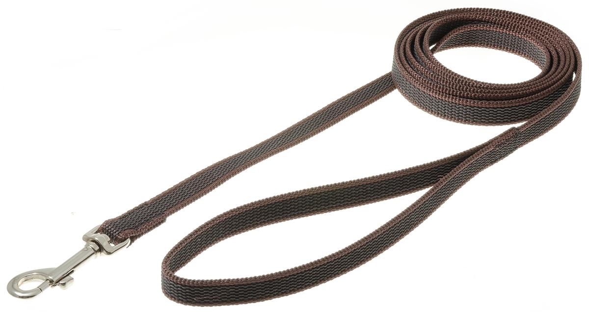 Поводок для собак V.I.Pet, профессиональный, цвет: стальной, коричневый, ширина 15 мм, длина 2 м73-2589Профессиональный нейлоновый поводок V.I.Pet с латексной нитью предназначен для дрессировки собак, а также для повседневного использования. Подойдет для сильных и активных собак. Не скользит, не обжигает руки. Вращающийся вертлюг карабина предотвращает перекручивание поводка. Ширина поводка: 15 мм.