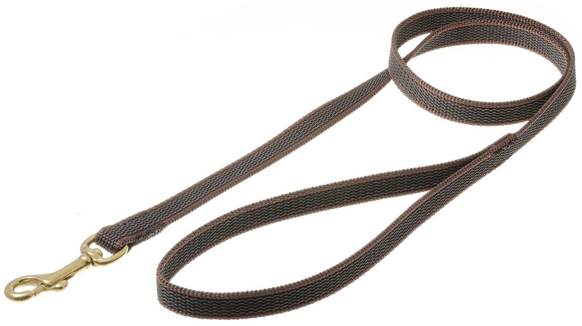 Поводок с карабином профессиональный с латексом 15мм*1 м (коричневый) (бронзовый карабин) 73-259373-2593нейлон;латекс;бронзовый карабин