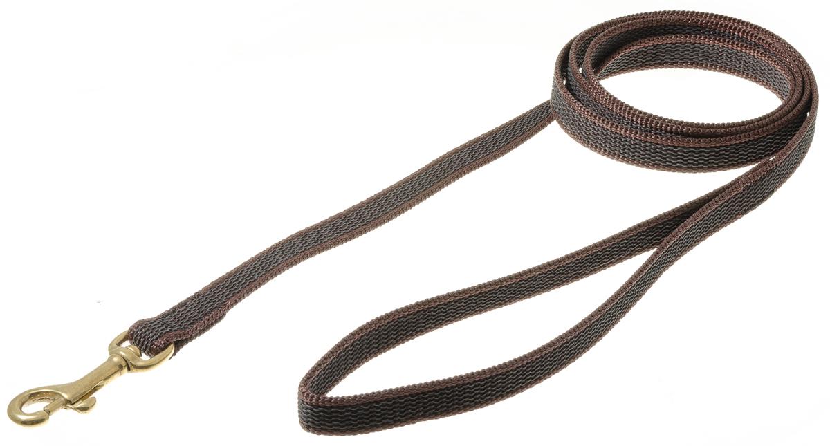 Поводок для собак V.I.Pet, профессиональный, цвет: золотистый, коричневый, ширина 15 мм, длина 1,5 м73-2594Профессиональный нейлоновый поводок V.I.Pet с латексной нитью предназначен для дрессировки собак, а также для повседневного использования. Подойдет для сильных и активных собак. Не скользит, не обжигает руки. Вращающийся вертлюг карабина предотвращает перекручивание поводка. Ширина поводка: 15 мм.
