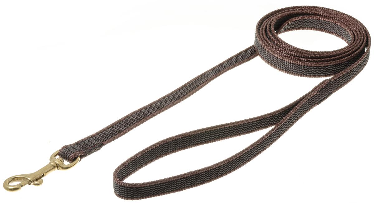 Поводок с карабином профессиональный с латексом 15мм*2м (коричневый) (бронзовый карабин) 73-259573-2595нейлон;латекс;бронзовый карабин