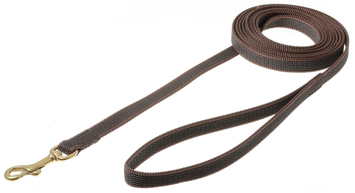 Поводок для собак V.I.Pet, профессиональный, цвет: золотистый, коричневый, ширина 15 мм, длина 3 м73-2596нейлон;латекс;бронзовый карабин