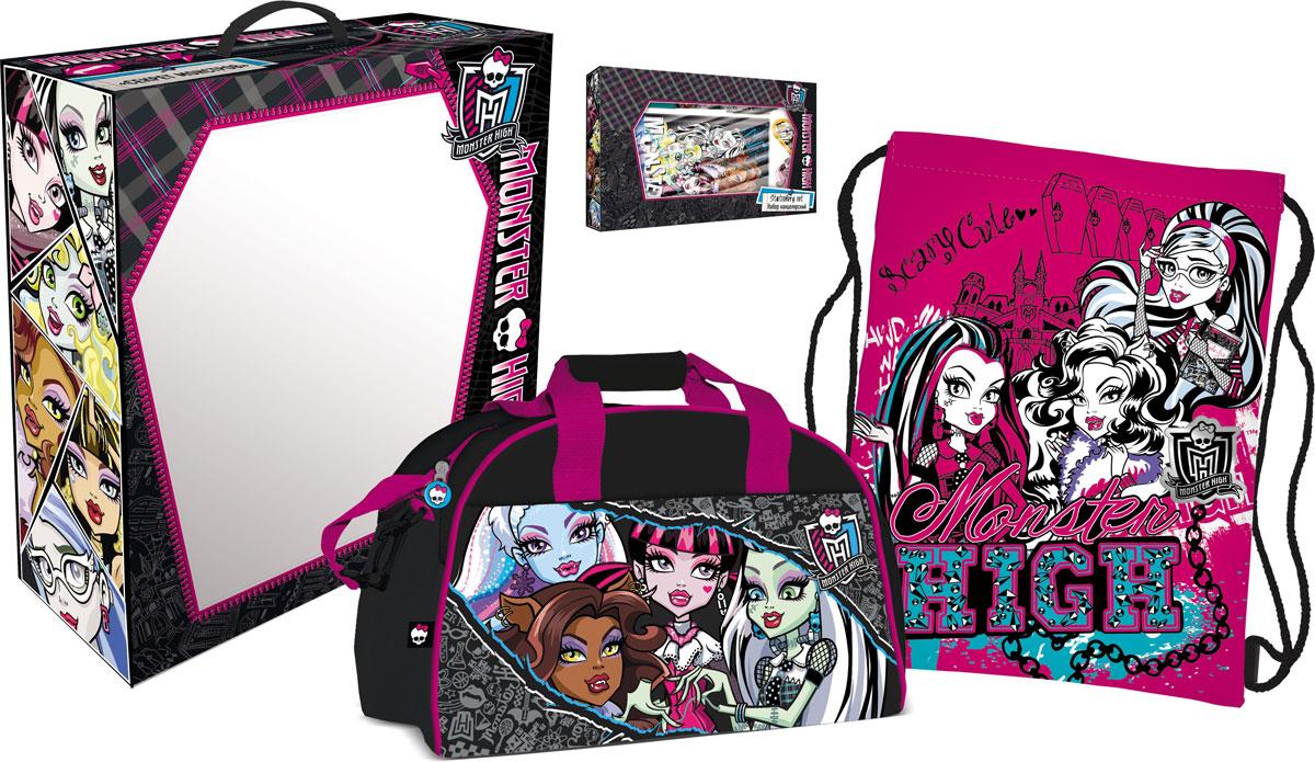Набор подарочный Monster High. MHBZ-US1-51BOX5-V1MHBZ-US1-51BOX5-V1Девушки из Школы Монстров подготовили целый склеп для того, чтобы обучаться и получать знания. Тем, кто обожает все монстрическое и хочет начать новую четверть в стиле Monster High, просто необходим этот комплект.