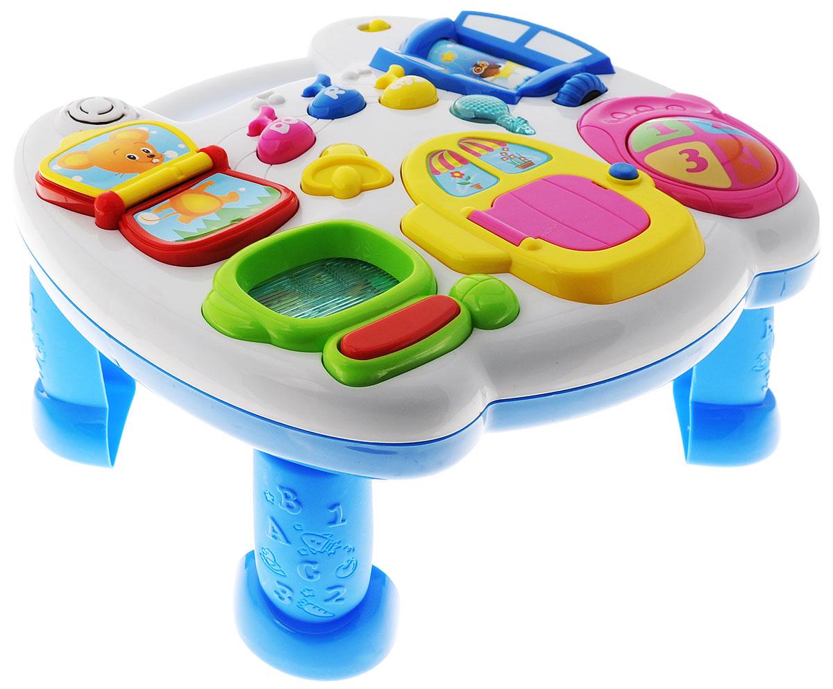 Mommy Love Развивающий игровой центрWD3629Развивающая музыкальная игрушка Mommy Love Игровой центр - электронная игрушка, обеспечивающая комплексное развитие ребенка. Игровой центр представлен множеством заданий и игр для малыша - музыкальные нотки, странички с голосами мышки и коровки, компьютер, волшебные мелодии, фонарик, телефон, домик с сюрпризом, окошко день-ночь. Большим плюсом данной игрушки является ее многофункциональность. Ее можно использовать как игровой столик, а также, если снять ножки, удобно закрепить на кроватку или детский манеж, для развлечения малыша. На столике ваш ребенок найдет странички книжечки, нотки, интересный домик с сюрпризом, компьютер и телефон. Игрушка снабжена звуковым сопровождением с регулятором громкости и световыми эффектами. Это продуманная, прочная, устойчивая и надежная конструкция, совершенно безопасная для детей. Кроме того, игровые центры занимают удивительно мало места: их легко хранить даже в самой маленькой комнате. С помощью игровых центров вы подарите...