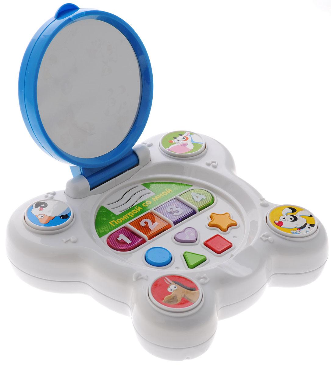 Mommy Love Развивающая игрушка Чудо-зеркальцеWD3608Развивающая игрушка Чудо-зеркальце со звуковыми и световыми эффектами, непременно понравится вашему малышу и станет для него любимой игрушкой. Чудо-зеркальце - это совершенно безопасное для вашего ребенка зеркальце, которое работает от батареек. Оно большое, ровное и совершенно не искажает изображение. На поверхности зеркальца есть кнопки, при нажатии на которые ребенок сможет наблюдать, как появляются изображения веселых и забавных зверей. При этом он также будет слышать голоса животных. Кроме того, Чудо-зеркальце поможет ребенку освоить основные формы и цвета, научит считать до 4-х. Говорить зеркальце умеет на двух языках - русском и английском. Оно может работать в нескольких режимах. В случайном режиме, чтобы развлечься, ребенок слышит различные забавные звуки. При нажатии кнопок с цифрами звучат веселые мелодии. Если нажать кнопку с изображением животного, то в зеркале появится его портрет и ребенок услышит кто именно там появился. Порадуйте...