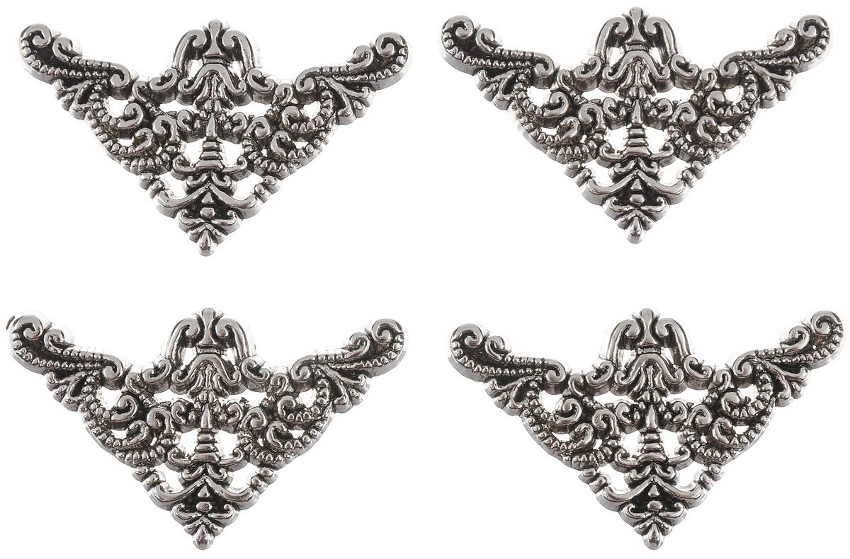 Пуговицы декоративные Buttons Galore & More Silver Filigree, 4 шт7708821Набор Buttons Galore & More Silver Filigree состоит из 4 декоративных пуговиц. Все элементы выполнены из пластика в виде фигурок с декоративным орнаментом. Такие пуговицы подходят для любых видов творчества: скрапбукинга, декорирования, шитья, изготовления кукол, а также для оформления одежды. С их помощью вы сможете украсить открытку, фотографию, альбом, подарок и другие предметы ручной работы. Пуговицы имеют оригинальный и яркий дизайн. Средний размер пуговиц: 4 см х 2 см х 0,5 см.