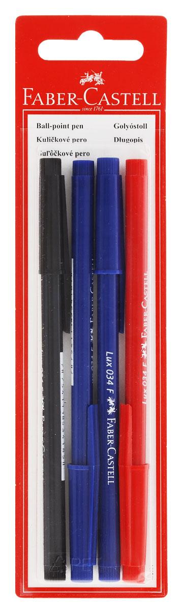 Faber-Castell Ручка шариковая 034-F цвет синий, красный, черный 4 шт