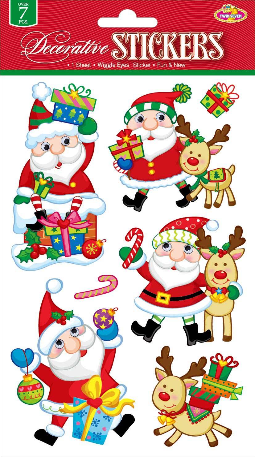 Наклейки для интерьера Room Decoration Забавный СантаCLX3406Наклейки для стен и предметов интерьера Room Decoration Забавный Санта, изготовленные из самоклеящейся виниловой пленки, помогут украсить дом к предстоящим праздникам. Изделия выполнены в виде Санта-Клаусов с объемными глазами, подарка. Наклейки дадут вам вдохновение, которое изменит вашу жизнь и поможет погрузиться в мир ярких красок, фантазий и творчества. Для вас открываются безграничные возможности придумать оригинальный дизайн и придать новый вид стенам и мебели. Наклейки абсолютно безопасны для здоровья. Они быстро и легко наклеиваются на любые ровные поверхности: стены, окна, двери, стекла, мебель. При необходимости удобно снимаются, не оставляют следов. Наклейки Room Decoration Забавный Санта помогут вам изменить интерьер вокруг себя: в детской комнате и гостиной, на кухне и в прихожей, витрину кафе и магазина, детский садик и офис. Размер листа: 14 см х 21 см. Количество наклеек на листе: 7 шт. Размер самой большой наклейки: 6,5...