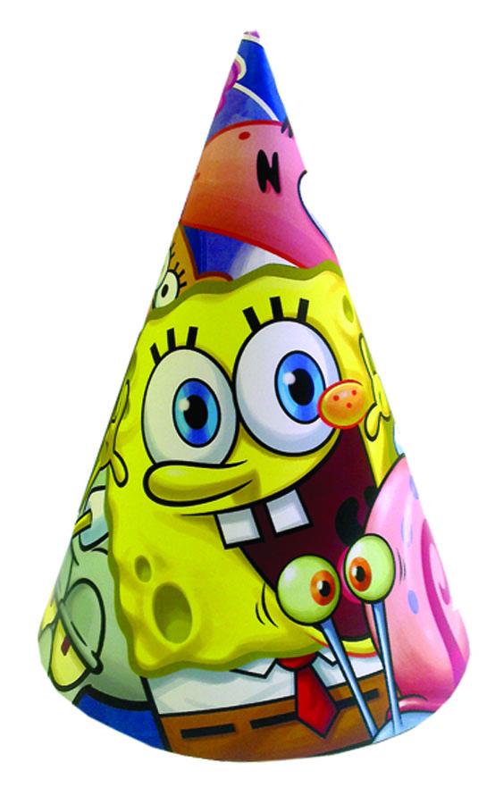 Веселая затея Колпак Губка Боб 8 шт1501-1657Восемь бумажных колпачков на резинках - для тех, кто не хочет потерять их на морском дне, где обитает целый мир Губки Боба!
