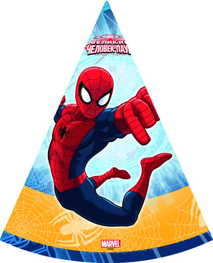 Веселая затея Колпак Человек-паук 6 шт1501-1705Колпачки на резинках со стремительным Человеком-пауком! Он следит за вами! В упаковке 6 колпачков.