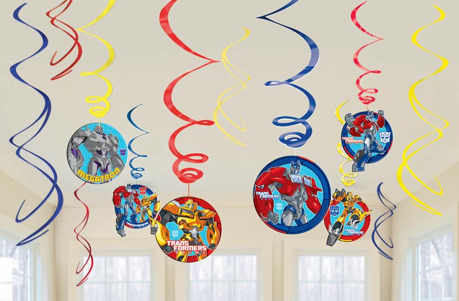 Amscan Спираль Трансформеры 12 шт1501-1939Приближается день рождения или другая знаменательная дата? Создать праздничную атмосферу в доме поможет украшение-спираль Трансформеры. Каждая спираль снабжена колечком для крепления к потолку или стене. В наборе 12 разноцветных украшений.