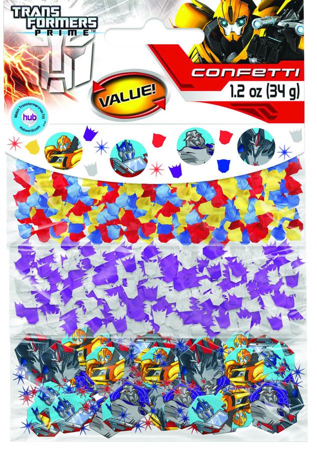 Amscan Конфетти Трансформеры 3 вида1501-1940Конфетти Трансформеры представлено в трех дизайнах: золотые, красные и синие очертания масок автоботов, серебряные и фиолетовые очертания масок десептиконов, золотые, синие и красные звезды в сочетании с двусторонними портретами-фишками трансформеров. Конфетти, рассыпанное на столе, является необычной и привлекательной формой украшения праздничного застолья. Еще один оригинальный способ порадовать друзей и близких - насыпьте конфетти в конверт с открыткой - это будет неожиданный сюрприз! Конфетти - прекрасный материал для рукоделия.