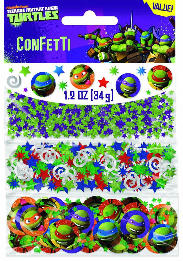 Amscan Конфетти Черепашки Ниндзя 3 вида1501-2040Конфетти Черепашки Ниндзя представлено в трех дизайнах: круги с изображением Черепашек Ниндзя - их можно использовать как игровые фишки, разноцветные блестящие звездочки и спирали. Конфетти, рассыпанное на столе, является необычной и привлекательной формой украшения праздничного застолья. Еще один оригинальный способ порадовать друзей и близких - насыпьте конфетти в конверт с открыткой - это будет неожиданный сюрприз! Также конфетти - прекрасный материал для рукоделия.