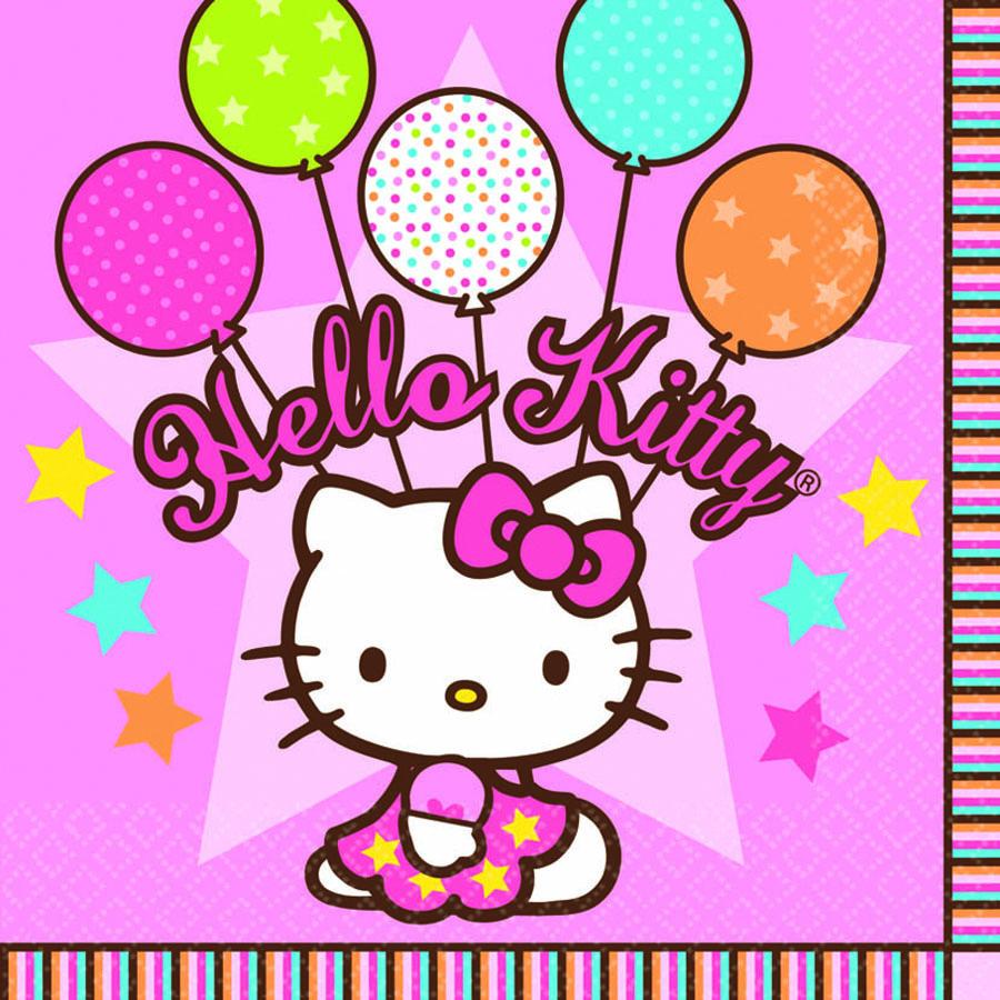 Amscan Салфетка Hello Kitty 33 х 33 см 16 шт1502-0930Набор Amscan состоит из 16 бумажных салфеток с нарядной кошечкой Китти и воздушными шариками. Вам хочется красиво отметить встречу юных подружек - коллекция Hello Kitty идеальный вариант для оформления праздника.