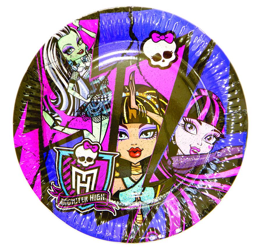 Amscan Тарелка Monster High 23 см 8 шт1502-1329Десертные тарелки в стиле Школы Монстров с прекрасными Фрэнки Штейн, Дракулаурой и Клео де Нил. Отличное дополнение монстр-вечеринки. В упаковке 8 ламинированных бумажных тарелок диаметром 23 см.