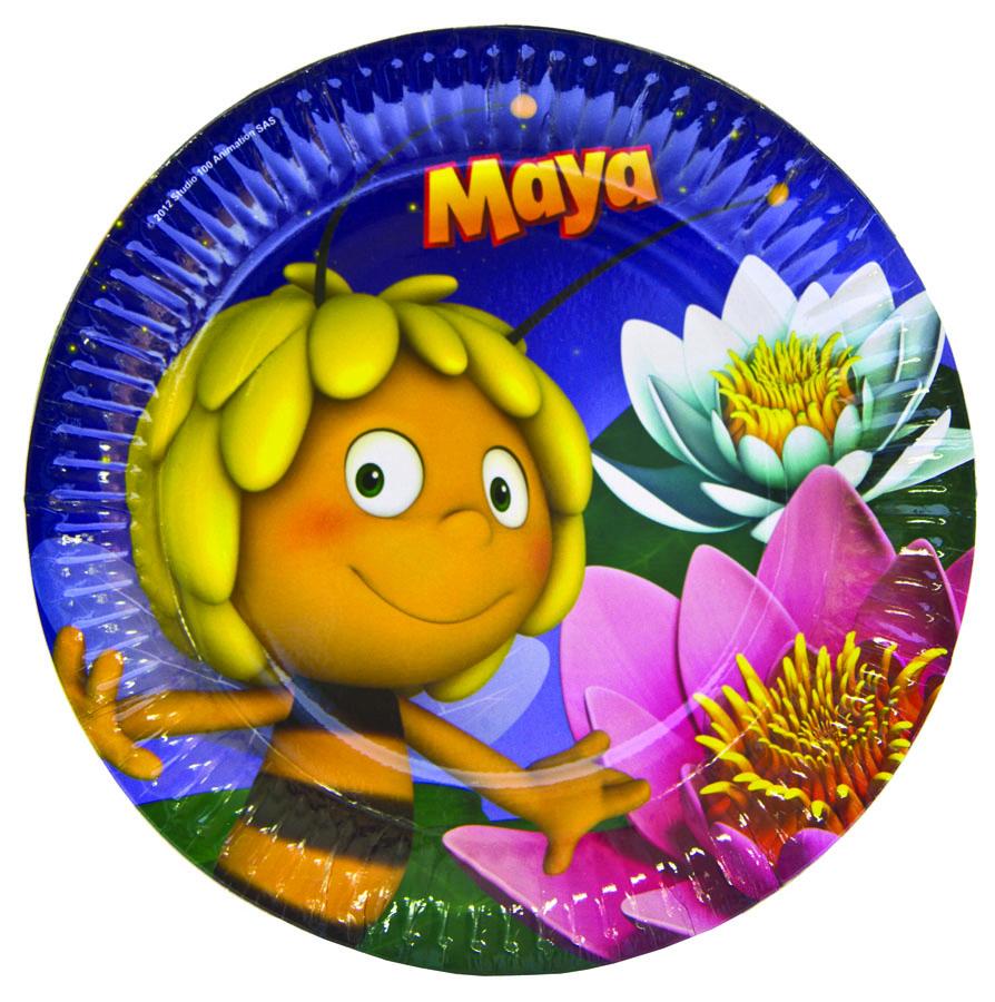 Amscan Тарелка Пчелка Майя 8 шт1502-1398Любознательная пчелка Майя вновь нашла что-то удивительное в своем лесу. Белые и розовые лилии, звездное небо! В упаковке 8 ламинированных тарелок диаметром 23 см.