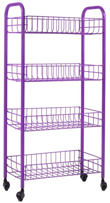 Этажерка Metaltex Pisa, 4-уровневая, цвет: фиолетовый, 41 см х 23 см х 84 см34.06.34_фиолетовыйЭтажерка Metaltex Pisa с четырьмя полками выполнена из высококачественной стали, окрашенной краской, содержащей эпоксидный порошок. Очень удобная и компактная, но в то же время вместительная, она прекрасно впишется в пространство любого помещения. Ее можно установить в ванной комнате и ваши шампуни, гели для душа и различные крема всегда будут под рукой; на кухне этажерку можно использовать для хранения посуды и продуктов. Благодаря колесикам этажерку можно перемещать в любую сторону без особых усилий. Изделие легко собирается и разбирается. Размер полки: 37,5 см х 23 см х 7 см.