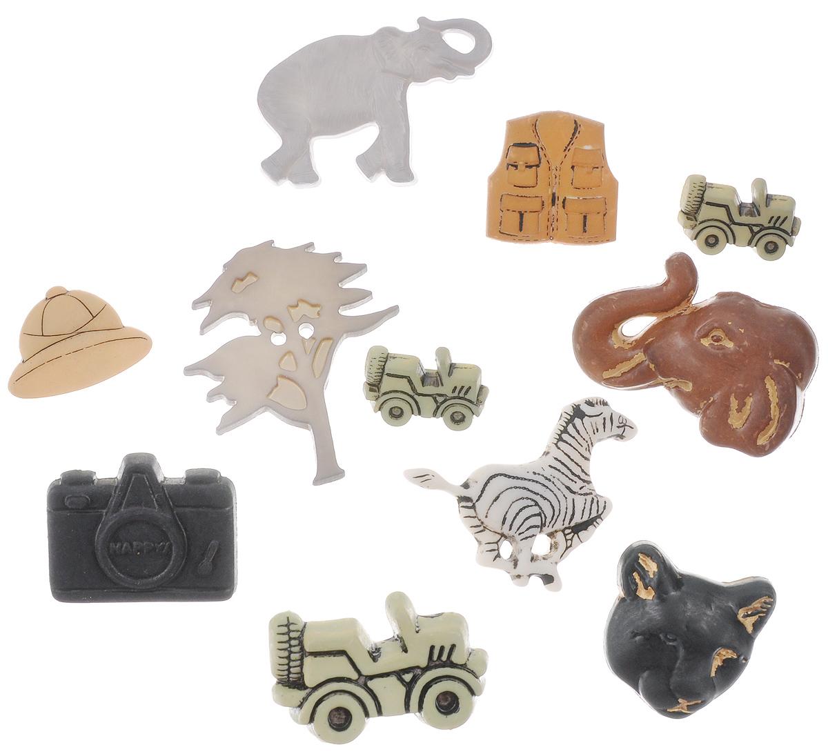 Пуговицы декоративные Buttons Galore & More Safari, 10 шт7705917Набор Buttons Galore & More Safari состоит из 10 декоративных пуговиц. Все элементы выполнены из пластика в виде различных фигурок. Такие пуговицы подходят для любых видов творчества: скрапбукинга, декорирования, шитья, изготовления кукол, а также для оформления одежды. С их помощью вы сможете украсить открытку, фотографию, альбом, подарок и другие предметы ручной работы. Пуговицы разного цвета имеют оригинальный и яркий дизайн. Средний размер пуговиц: 3,5 см х 2,5 см х 0,5 см.