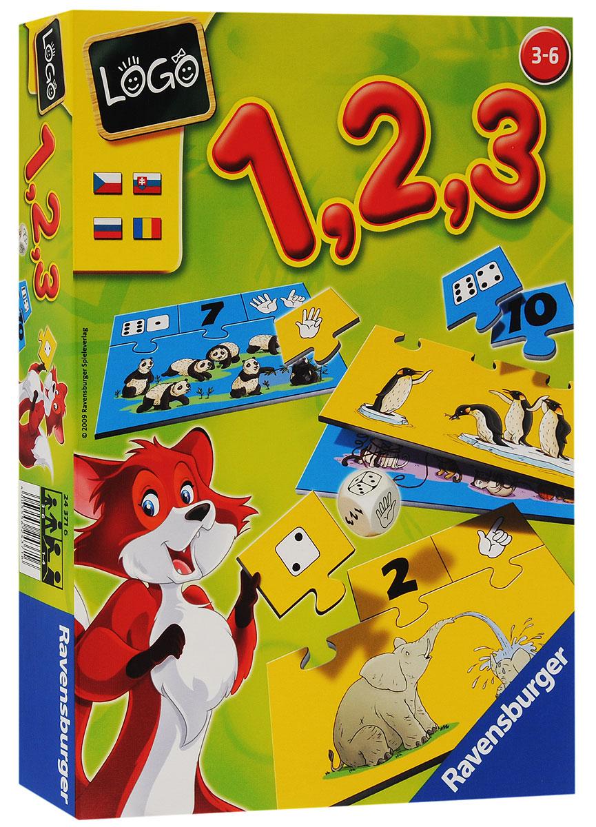 Ravensburger Настольная игра Лого Учимся считать24371Настольная игра Ravensburger Лого. Учимся считать позволит вашему ребенку весело и с пользой провести время. Подходит для одного ребенка или для групповой игры. Малыш научится самостоятельно считать. Узнает, как числа могут быть представлены с помощью цифр, очков кубика или пальцев. Тот, кто первым соберет подходящие карточки, на которых изображены очки кубика, цифры и пальцы, и присоединит их к картинке, становится победителем. Содержание: 10 карточек-картинок с определенным количеством предметов, 10 карточек со стороной игрального кубика - очки, 10 карточек с пальчиками, 10 карточек с цифрами, игральный кубик с символами - очки, пальцы и цифры, правила игры на русском языке. Игра учит логическому мышлению, внимательности, умению считать. Рекомендуемый возраст: от 3 до 6 лет. Продолжительность игры: 15-20 минут.