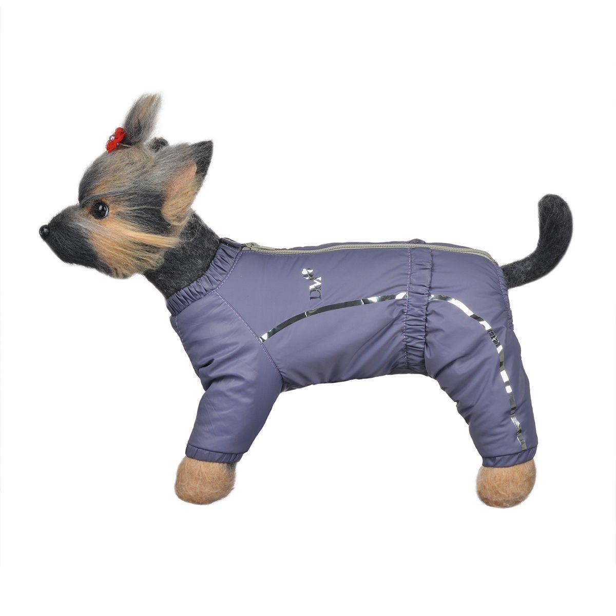 Комбинезон для собак Dogmoda Альпы, зимний, для девочки, цвет: фиолетовый, серый. Размер 4 (XL)DM-150350-4Зимний комбинезон для собак Dogmoda Альпы отлично подойдет для прогулок в зимнее время года. Комбинезон изготовлен из полиэстера, защищающего от ветра и снега, с утеплителем из синтепона, который сохранит тепло даже в сильные морозы, а на подкладке используется искусственный мех, который обеспечивает отличный воздухообмен. Комбинезон застегивается на молнию и липучку, благодаря чему его легко надевать и снимать. Ворот, низ рукавов и брючин оснащены внутренними резинками, которые мягко обхватывают шею и лапки, не позволяя просачиваться холодному воздуху. На пояснице имеется внутренняя резинка. Изделие декорировано серебристыми полосками и надписью DM. Благодаря такому комбинезону простуда не грозит вашему питомцу и он сможет испытать не сравнимое удовольствие от снежных игр и забав.