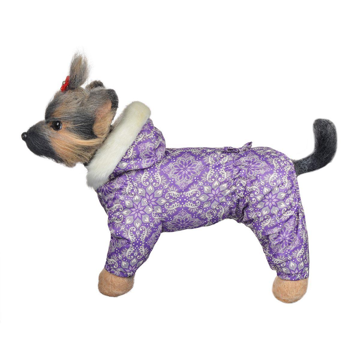 Комбинезон для собак Dogmoda Winter, зимний, для девочки, цвет: фиолетовый, белый, серый. Размер 1 (S)DM-150335-1Зимний комбинезон для собак Dogmoda Winter отлично подойдет для прогулок в зимнее время года. Комбинезон изготовлен из полиэстера, защищающего от ветра и снега, с утеплителем из синтепона, который сохранит тепло даже в сильные морозы, а на подкладке используется искусственный мех, который обеспечивает отличный воздухообмен. Комбинезон с капюшоном застегивается на кнопки, благодаря чему его легко надевать и снимать. Капюшон украшен искусственным мехом и не отстегивается. Низ рукавов и брючин оснащен внутренними резинками, которые мягко обхватывают лапки, не позволяя просачиваться холодному воздуху. На пояснице комбинезон затягивается на шнурок-кулиску. Благодаря такому комбинезону простуда не грозит вашему питомцу.