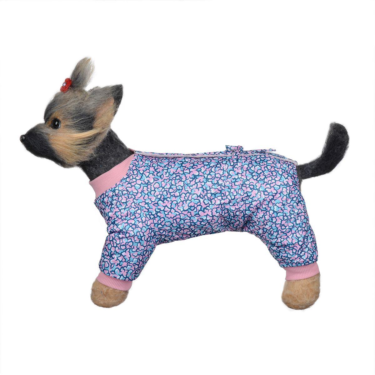 Комбинезон для собак Dogmoda Лаки, зимний, для девочки, цвет: розовый, синий. Размер 4 (XL)DM-150334-4Комбинезон для собак Dogmoda Лаки, оформленный ярким цветочным рисунком, отлично подойдет для прогулок в зимнее время года. Комбинезон изготовлен из водоотталкивающего полиэстера, защищающего от ветра и снега, с утеплителем из синтепона, который сохранит тепло даже в сильные морозы, а в качестве подкладки используется искусственный мех, который обеспечивает отличный воздухообмен. Комбинезон застегивается на кнопки на спинке, благодаря чему его легко надевать и снимать. Ворот, низ рукавов и брючин оснащены широкими трикотажными манжетами, которые мягко обхватывают шею и лапки, не позволяя просачиваться холодному воздуху. На пояснице комбинезон затягивается на шнурок-кулиску. Изделие имеет максимально закрытый животик. Благодаря такому комбинезону простуда не грозит вашему питомцу, и он сможет испытать не сравнимое удовольствие от снежных игр и забав.