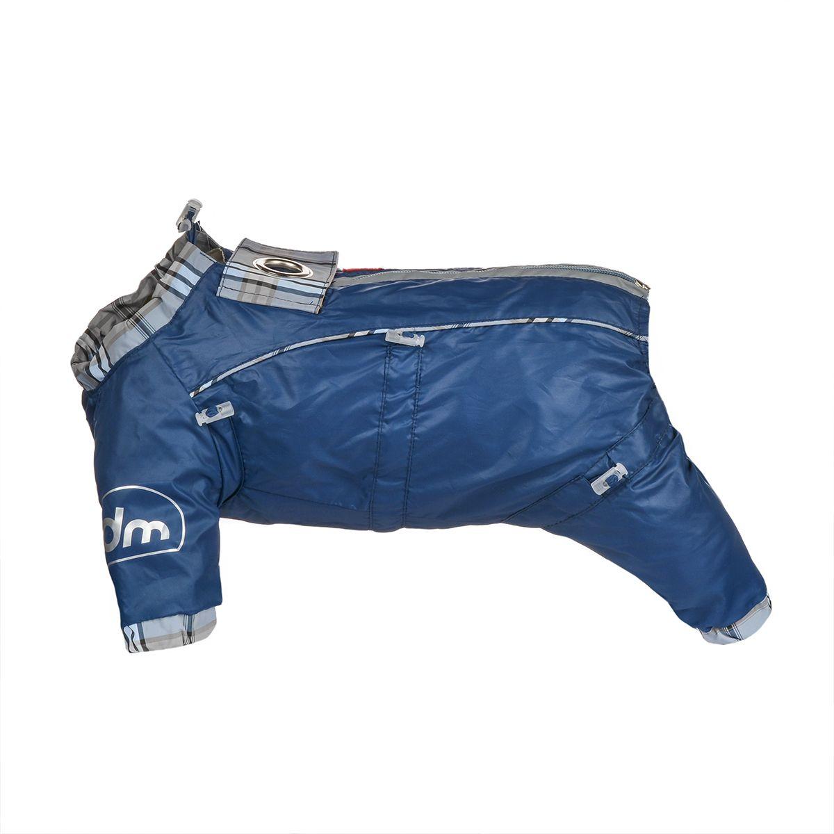 Комбинезон для собак Dogmoda Doggs, для мальчика, цвет: темно-синий. Размер MDM-140516Комбинезон для собак Dogmoda Doggs отлично подойдет для прогулок в ветреную погоду. Комбинезон изготовлен из полиэстера, защищающего от ветра и осадков, с подкладкой из вискозы, которая обеспечит отличный воздухообмен. Комбинезон застегивается на молнию и липучку, благодаря чему его легко надевать и снимать. Молния снабжена светоотражающими элементами. Низ рукавов и брючин оснащен внутренними резинками, которые мягко обхватывают лапки, не позволяя просачиваться холодному воздуху. На вороте, пояснице и лапках комбинезон затягивается на шнурок-кулиску с затяжкой. Модель снабжена непромокаемым карманом для размещения записки с информацией о вашем питомце, на случай если он потеряется. Благодаря такому комбинезону простуда не грозит вашему питомцу и он не даст любимцу продрогнуть на прогулке.