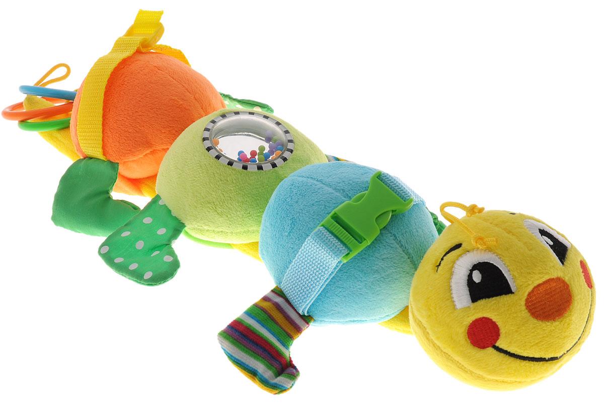 Mommy Love Развивающая игрушка Гусеница ДарсиGDA0\MРазвивающая игрушка Mommy Love Гусеница Дарси привлечет внимание вашего малыша и не заставит его скучать. Игрушка выполнена в виде забавной разноцветной гусеницы, состоящей из четырех звеньев. На одном из них расположено безопасное зеркальце с разноцветными шариками внутри. Лапки гусеницы выполнены из шуршащего материала, содержат пищалку и пластиковые гранулы. Снизу к игрушке на текстильных веревочках подвешены три пластиковых разноцветных колечка, за которые игрушку можно подвешивать к кроватке, коляске или детскому креслу. Игрушка Гусеница Дарси поможет ребенку в развитии цветового и звукового восприятия, тактильных ощущений, мелкой моторики рук и координации движений.