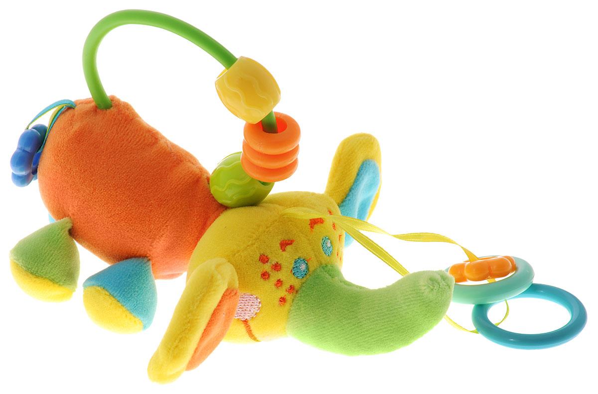 Mommy Love Мягкая игрушка-подвеска Слоник НикиSDM0\MМягкая игрушка-подвеска Mommy Love Слоник Ники обязательно привлечет внимание вашего ребенка. Изготовлена из мягкого и приятного на ощупь материала ярких приятных тонов в виде забавного слоника. Внутри тельца имеется пищалка, а ушки выполнены из шуршащего материала. Внизу к слонику на текстильных веревочках крепятся три элемента в виде колец и цветочков. Сверху игрушка оснащена дугой, на которой расположены три разноцветных элемента. За дугу игрушку также можно подвесить к кроватке, коляске или детскому креслу. Игрушка-подвеска Слоник Ники поможет ребенку в развитии цветового и звукового восприятия, концентрации внимания, мелкой моторики рук, координации движений и тактильных ощущений.