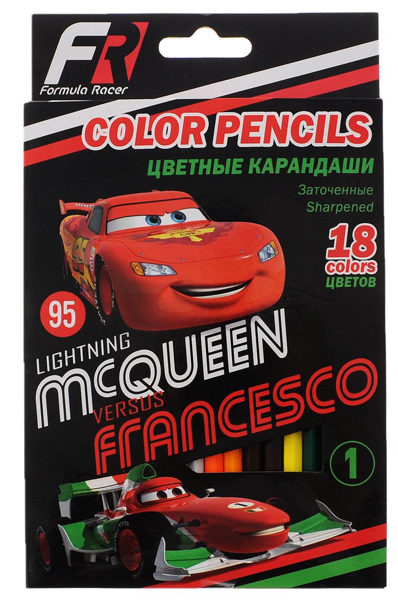 Disney/Pixar Набор цветных карандашей Formula Racers 18 цветовCRBB-US1-1P-18Цветные карандаши Formula Racers откроют юным художникам новые горизонты для творчества, а также помогут отлично развить мелкую моторику рук, цветовое восприятие, фантазию и воображение. Традиционный шестигранный корпус изготовлен из натуральной высококачественной древесины с многослойной покраской. Карандаши удобно держать в руках, а мягкий грифель не требует сильного нажима. Комплект включает 18 заточенных карандашей ярких насыщенных цветов.