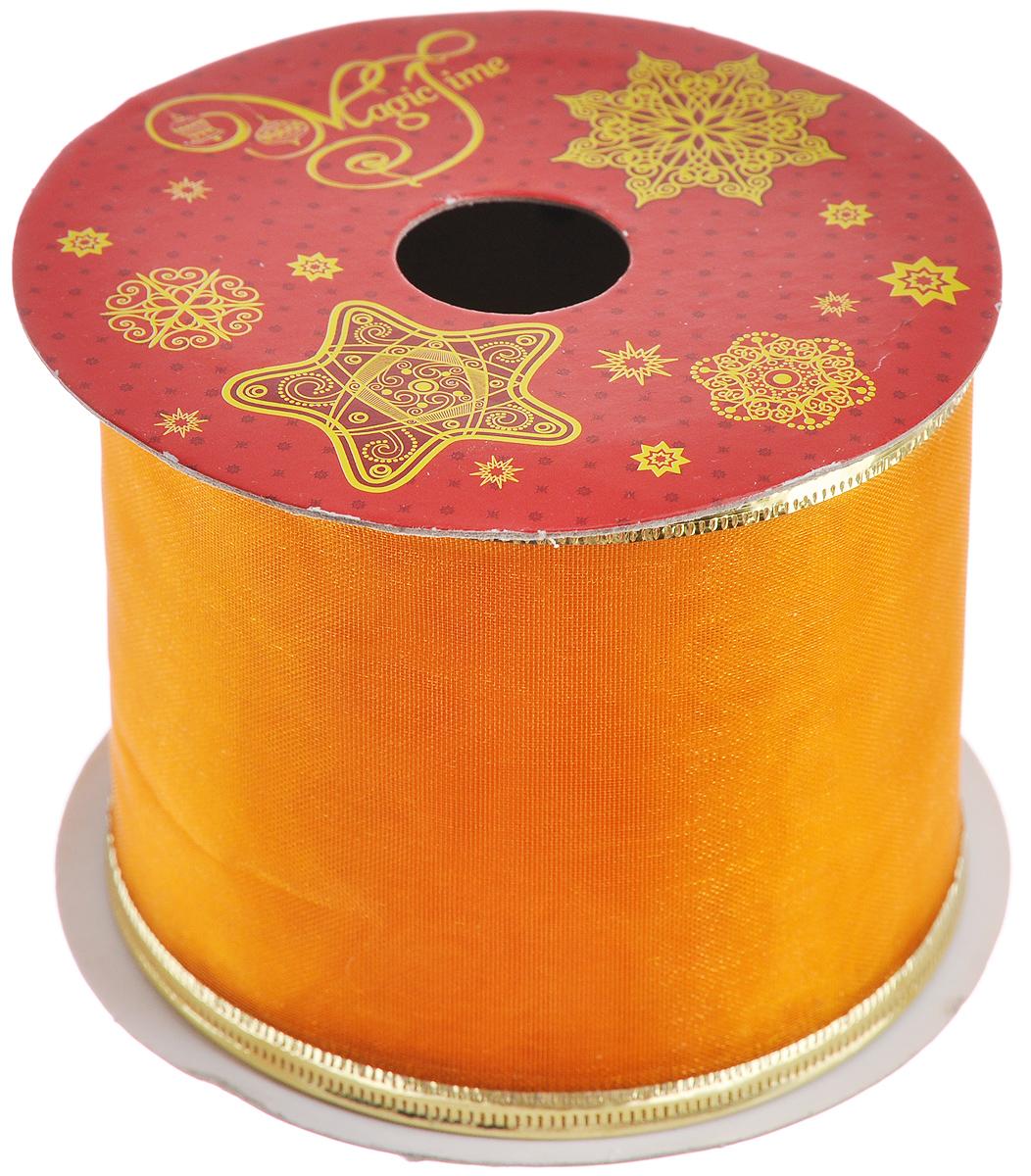 Декоративная лента Феникс-презент Magic Time, цвет: оранжевый, золотистый, длина 2,7 м. 3888338883_оранжевыйДекоративная лента Феникс-презент Magic Time выполнена из полиэстера. В края ленты вставлена проволока, благодаря чему ее легко фиксировать. Лента предназначена для оформления подарочных коробок, пакетов. Кроме того, декоративная лента с успехом применяется для художественного оформления витрин, праздничного оформления помещений, изготовления искусственных цветов. Декоративная лента украсит интерьер вашего дома к праздникам. Ширина ленты: 6,3 см.