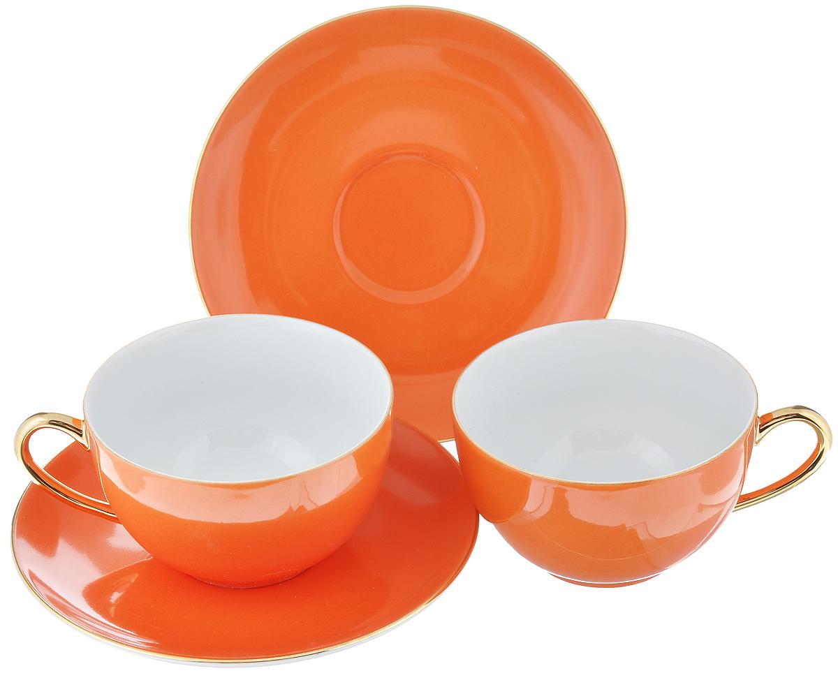 Набор чайный La Rose Des Sables Monalisa, цвет: оранжевый, золотистый, 4 предмета6 195 003 127Чайный набор La Rose Des Sables Monalisa состоит из двух чашек и двух блюдец. Предметы набора изготовлены из высококачественного фарфора. Изящный дизайн придется по вкусу и ценителям классики, и тем, кто предпочитает утонченность и изысканность. Он настроит на праздничный лад и подарит хорошее настроение с самого утра. Чайный набор - идеальный и необходимый подарок для вашего дома и для ваших друзей в праздники, юбилеи и торжества! Он также станет отличным корпоративным подарком и украшением любой кухни. Не рекомендуется использовать в микроволновой печи и мыть в посудомоечной машине. Объем чашки: 210 мл. Диаметр чашки (по верхнему краю): 9,5 см. Высота чашки: 5 см. Диаметр блюдца: 15 см.