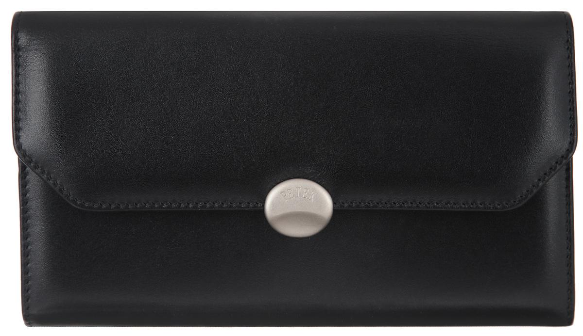 Портмоне женское Petek 1855, цвет: черный. 408.000.01408.000.01 BlackЖенское портмоне Petek 1855 изготовлено из натуральной кожи. Изделие закрывается клапаном на застежку-кнопку. Основное отделение разделено на два отсека. В первом отсеке, который закрывается на застежку кнопку, расположены девять вертикальных карманов для пластиковых карт, один из которых с окошком из прозрачного сетчатого материала, три больших горизонтальных кармана. Во втором отсеке расположены два отделения для купюр, большой горизонтальный карман, карман для мелочи на застежке-фермуаре. Изделие упаковано в фирменную коробку. Стильное портмоне эффектно дополнит ваш образ и станет незаменимым аксессуаром на каждый день.