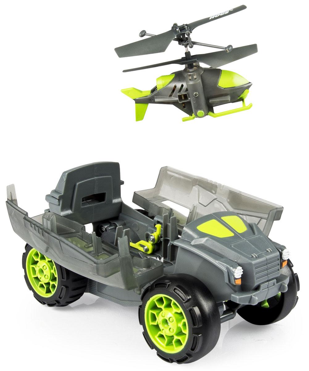 Air Hogs Игровой набор на радиоуправлении Бронемашина с вертолетом-разведчиком44492Если вы ищете настоящий подарок, то радиоуправляемая бронемашина с вертолетом-разведчиком - идеальный подарок для вашего малыша. Машина перевозит внутри мини-вертолет. При нажатии специальной кнопки на пульте открывается отсек бронемашины, и оттуда вылетает 2-х канальный мини-вертолет, которым можно управлять. Для того, чтобы вертолет взлетел, машину нужно предварительно остановить. Крыша машины откроется, и вертолет может взлетать. Корпус вертолета и машины выполнен из прочного пластика с элементами из металла. Ваш ребенок, играя радиоуправляемой игрушкой, развивается не только умственно, но и физически. Дети развивают свой кругозор, управляя игрушкой вертолетом. Игрушка работает от встроенного аккумулятора. Для работы пульта управления нужно 4 батарейки напряжением 1,5 V типа АА (не входят в комплект).