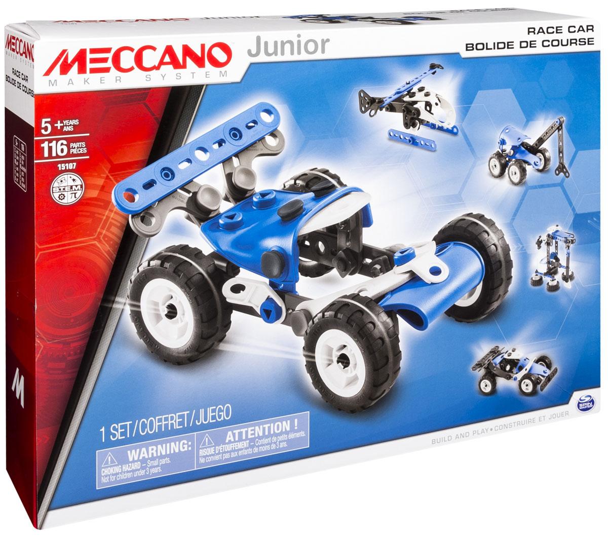 Meccano Конструктор Гоночная машина 5 в 191746Конструктор Meccano Гоночная машина позволит вашему ребенку весело и с пользой провести время. Набор включает в себя 116 деталей из пластика и резины, с помощью которых можно собрать гоночный автомобиль и еще 4 другие модели техники. В набор также входят все необходимые для сборки инструменты и инструкция. Конструктор Meccano Гоночная машина поможет ребенку развить мелкую моторику рук, координацию движений и усидчивость.