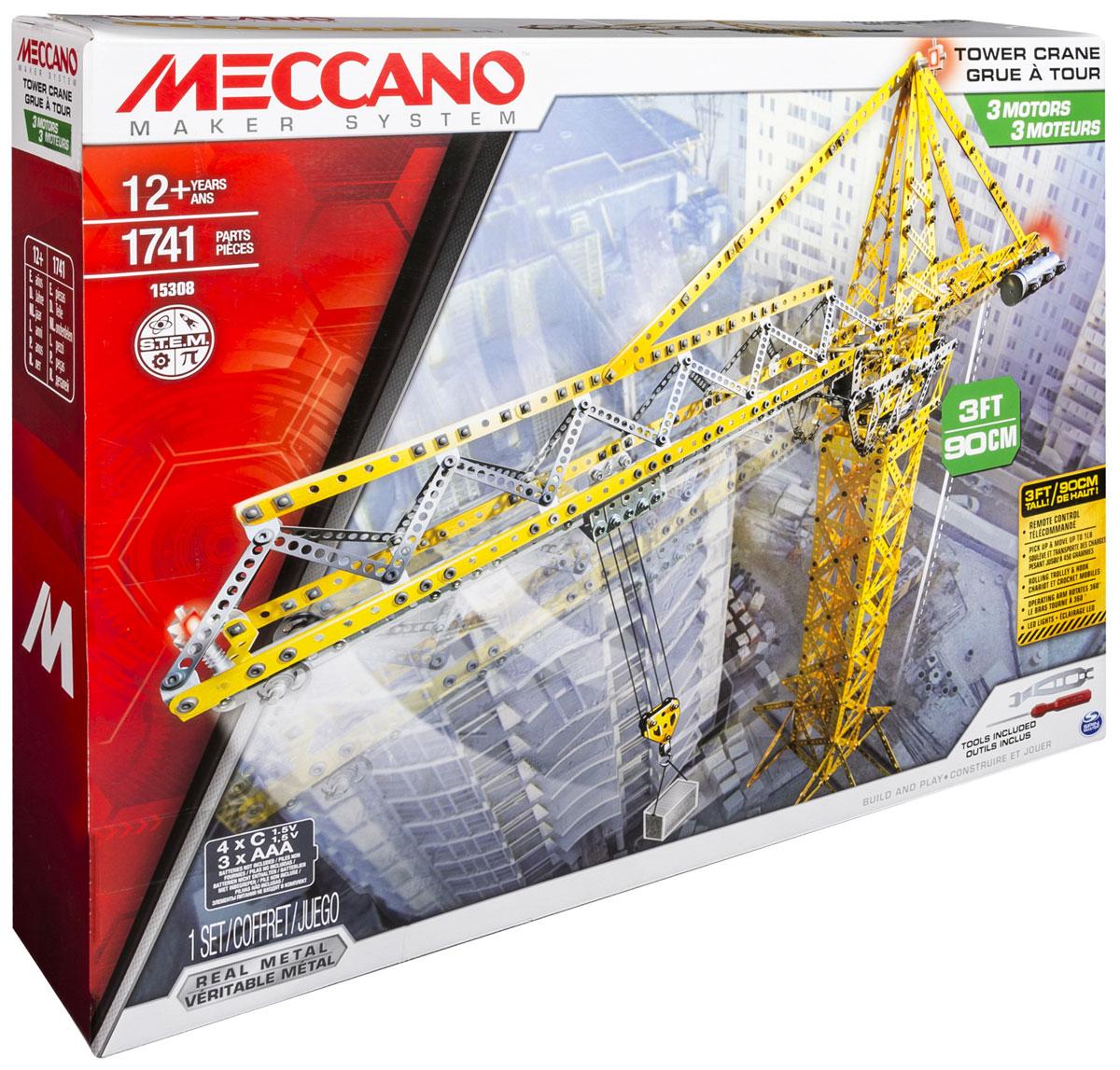 Meccano Конструктор Строительный кран91762Узнайте, как высоко может взобраться ваше воображение, когда вы соедините мир реального инженерного искусства с мощным подъемным краном! Конструктор Meccano Строительный кран с тремя моторами для поднятия грузов, углом поворота на 360 градусов и светодиодными лампами - это то, что вас непременно удивит. К стреле крана прикреплена тележка с колесиками, в которой можно поднимать объекты весом до 450 грамм. Созданный для самых страстных коллекционеров, данный набор включает в себя 1741 деталь, 2 настоящих инструмента и пошаговые инструкции. Опираясь на работу настоящего крана, управляйте данной моделью Строительного крана с помощью пульта дистанционного управления. Исследуйте чудеса механики этого мира, вдохнув жизнь в игрушку конструктор Meccano Строительный кран. Для работы требуются 4 батарейки типа C (не входят в комплект), для работы пульта управления требуются 3 батарейки типа ААА (не входят в комплект).