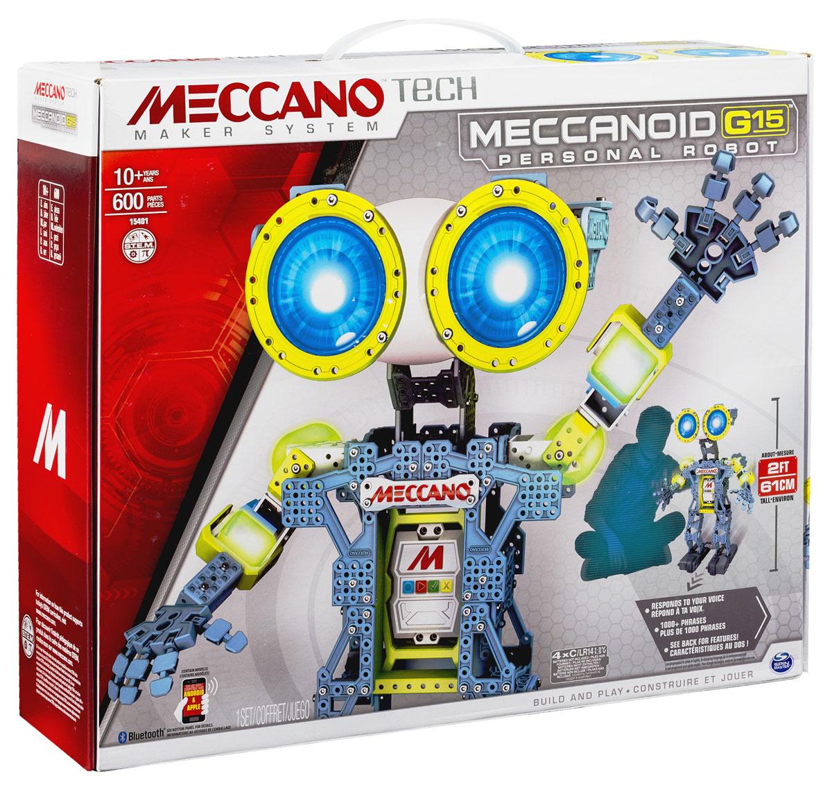 Meccano Конструктор Робот Меканоид G1591763Конструктор Meccano Робот Мекканоид G15 - это больше, чем просто игрушка. Для его построения вам понадобится 600 деталей. G15 - это ваш чрезвычайно остроумный лучший друг ростом в 60 сантиметров. Он оснащен удивительной системой распознавания голоса и хранит свыше тысячи запрограммированных фраз, комментариев и остроумных ответов. Программировать робота совсем не сложно, положитесь на свою интуицию - особых навыков вам не понадобится! Ключом к программированию робота является его встроенный Меккамозг. Программирование Мекканоида G15 производится 3 инновационными способами: благодаря режиму программирования движений (РПД), вы можете просто изменять положение рук робота или разговаривать с ним, а Мекканоид при этом записывает то, что вы делаете и повторяет это снова для вас! Вы можете управлять и программировать при помощи своего смартфона: возьмите руки робота и двигайте ими. Мекканоид запомнит движения и повторит их. Запустите на смартфоне приложение ...