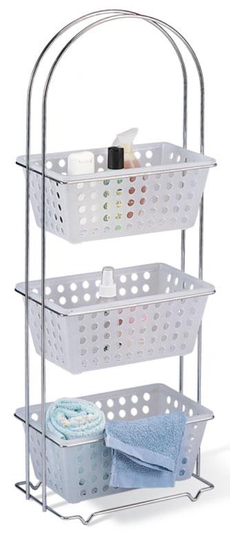 Стеллаж для ванной комнаты Sheffilton, цвет: хром, белый, 30 х 19 х 85 смSHT - BAB2Стеллаж Sheffilton - это отличное решение для ванной комнаты. Идеально подходит для хранения различных ванных принадлежностей. Каркас выполнен из высококачественного хромированного металла. Стеллаж имеет 3 пластмассовых корзины для хранения вещей. Изделие полностью разборное. Размер корзины: 29 см х 19 см х 12 см.
