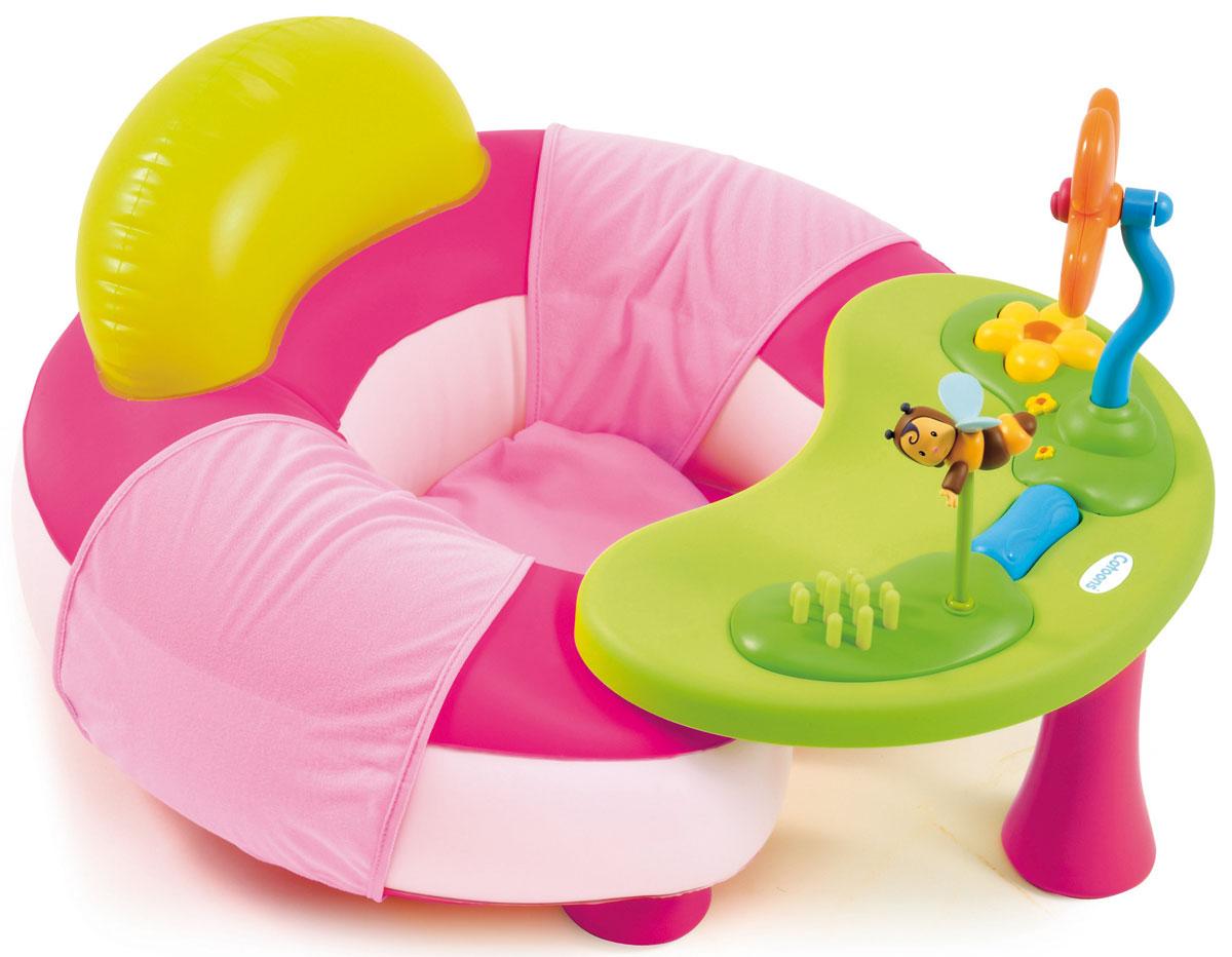 Smoby Надувной игровой центр цвет розовый211308_розовыйРодители подросших детишек прекрасно знают, как порой сложно занять любопытного малыша. Увлечь ребенка и развить необходимые навыки Вам поможет надувной игровой центр Smoby. В нем малыш будет чувствовать себя удобно и комфортно, чтобы развиваться и познавать окружающий мир. Он предназначен для малышей от 6 месяцев, а благодаря нежно-розовой раскраске подходит для девочек. Центр состоит из: удобного надувного кресла, мягкой подушки, наполненной шариками, столика с развивающими игрушками. За столиком можно покушать или порисовать, а также использовать отдельно. На столики закреплены музыкальный цветок-погремушка с зеркальцем и красочная пчелка. С помощью игрушек ребенок развивает моторику детских пальчиков и внимание, а яркие насыщенные цвета развивают зрительные способности крохи. Изучая все элементы надувного центра Smoby ребенок развивает свое внимание и при этом испытывает чувство уюта и удобства.