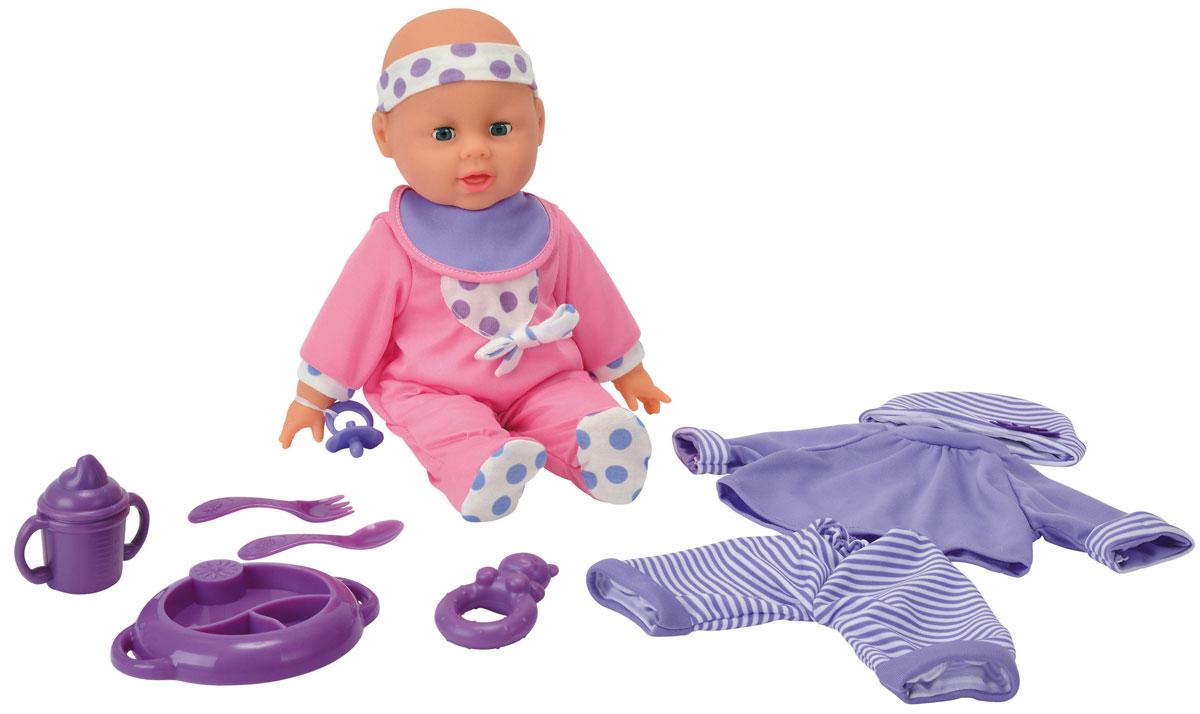 Simba Пупс Simba Baby Collection цвет посуды фиолетовый5146671_фиолетовыйПупс Simba Baby Collection непременно приведет в восторг вашу дочурку. Голова, ручки и ножки пупса выполнены из прочного пластика, а тело - мягконабивное. При нажатии на животик, игрушка воспроизводит реалистичные звуковые эффекты. Всего пупс воспроизводит 12 разных звуков. В набор также входит дополнительная одежда для куклы и аксессуары для кормления и ухода за малышом - пустышка, слюнявчик, вилка, ложка, тарелка, поильник с ручками и прорезыватель. Трогательный пупс принесет радость и подарит своей обладательнице мгновения нежных объятий. Игры с куклами способствуют эмоциональному развитию, помогают формировать воображение и художественный вкус, а также разовьют в вашей малышке чувство ответственности и заботы. Великолепное качество исполнения делают эту куколку чудесным подарком к любому празднику. Рекомендуется докупить 3 батарейки типа AG13 (LR44) (товар комплектуется демонстрационными).