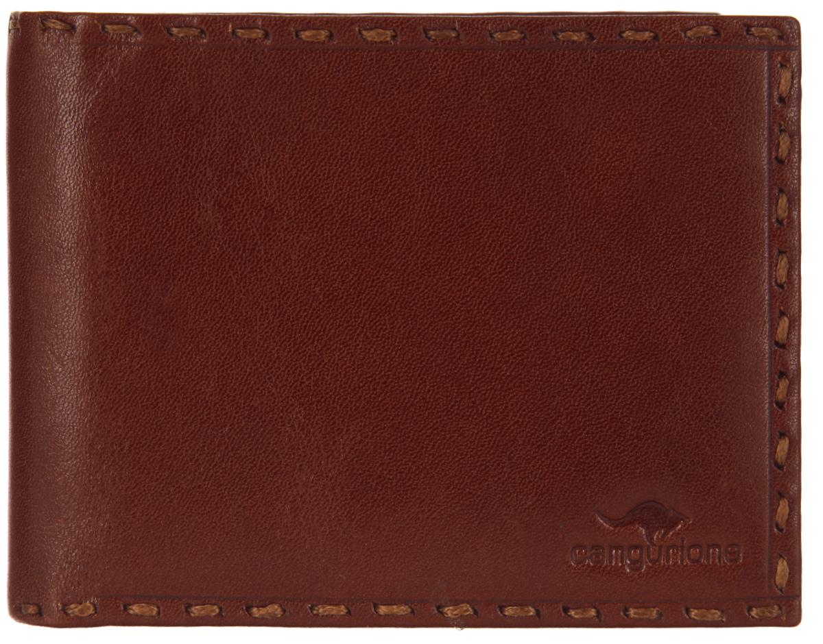Портмоне мужское Cangurione, цвет: коричневый. 1128-0041128-004 V/TanСтильное мужское портмоне Cangurione выполнено из натуральной кожи, оформлено клеймом с символикой бренда и декоративной строчкой. Внутренняя часть изделия выполнена из текстиля и натуральной кожи. Изделие раскладывается пополам. Внутри расположены два отделения для купюр, двенадцать кармашков для кредитных карт или визиток, пять боковых карманов, один из которых сетчатый. Изделие поставляется в фирменной упаковке. Стильное портмоне Cangurione станет отличным подарком для человека, ценящего качественные и практичные вещи.