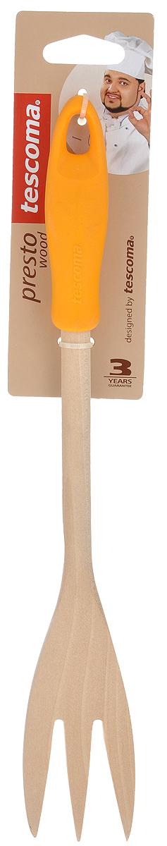 Вилка для мяса Tescoma Presto Wood, цвет: оранжевый, длина 30 см637248_оранжевыйВилка для мяса Tescoma Presto Wood изготовлена из экологически чистого материала - качественной березовой древесины, обладающей уникальной текстурой. Элегантная ручка имеет противоскользящую обработку, что дает возможность удобно и комфортно пользоваться вилкой. Такая кухонная принадлежность подходит для всех видов посуды, а также замечательна для посуды с антипригарным покрытием. Вилка для мяса Tescoma Presto Wood станет вашим незаменимым помощником на кухне, а также это практичный и необходимый подарок любой хозяйке! Размер рабочей поверхности: 4,5 см х 9 см. Общая длина вилки: 30 см.