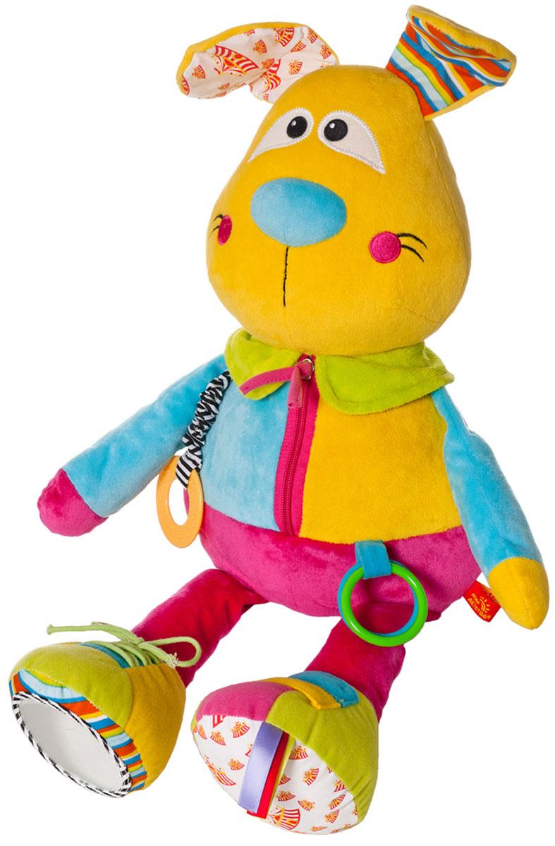 Мир детства Развивающая игрушка Дрессировщица Алиса33309Развивающая игрушка Мир детства Дрессировщица Алиса привлечет внимание вашего малыша и не позволит ему скучать! Игрушка выполнена из текстильного материала разных фактур и цветов в виде симпатичного зайчика. Ушки Алисы шуршат. Ножки игрушки таят в себе множество занимательных и развивающих элементов - пищалка, сфера, гремящая при тряске, разноцветные ленточки, безопасное зеркальце. Один ботиночек застегивается на липучки, второй - завязывается шнурочком. На туловище игрушки крепятся два пластиковых колечка и прорезыватель на текстильной резинке, выполненный из мягкого пластика и имеющий рельефную поверхность. По центру расположена молния, которую малыш сможет расстегивать и снова застегивать. На спинке Алисы расположен кармашек, который закрывается клапаном на пуговку. Мягкие гранулы, используемые при набивке изделиябудут способствовать развитию мелкой моторики пальчиков крохи. Яркая игрушка Дрессировщица Алиса поможет ребенку...