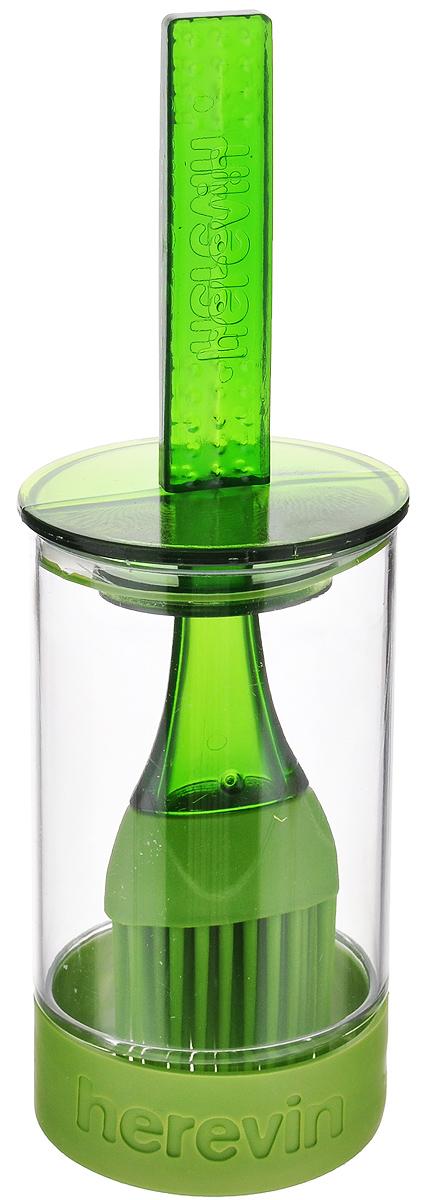 Емкость для соуса Herevin, с кисточкой, цвет: зеленый, 250 мл161260-000_зеленыйЕмкость для соуса Herevin выполнена из прочного пластика. В нижней части емкости имеется вставка из приятного на ощупь силикона, который не позволит ей выскользнуть из ваших рук. Емкость плотно закрывается пластиковой крышкой с уплотнителем и встроенной силиконовой кисточкой. Кисточка хорошо распределяет соус, маринад или другую смазку. Такое удобное приспособление поможет вам смазать соусом готовое блюдо и не разбрызгать его. Налейте соус в емкость, опустите туда кисточку и, уже поднеся к пирогу или мясу, смазывайте. Также емкость прекрасно подходит для приготовления и хранения соуса, маринада. Диаметр емкости: 6 см. Высота емкости (без учета крышки): 11 см. Длина кисточки: 20 см.