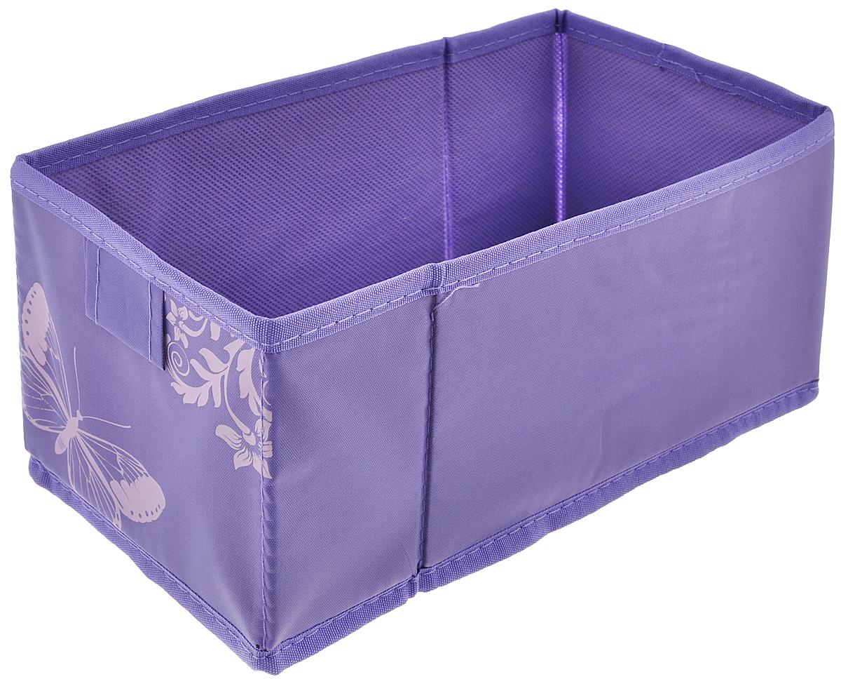 Коробка для хранения Hausmann Butterfly, цвет: фиолетовый, 13 см х 27 см х 12,5 см4P-107-4С_фиолетовыйКоробка для хранения Hausmann поможет легко организовать пространство в шкафу или в гардеробе. Изделие выполнено из нетканого материала и полиэстера. Коробка держит форму благодаря жесткой вставке из картона, которая устанавливается на дно. Боковая поверхность оформлена красивым принтом и изображением бабочки. В такой коробке удобно хранить нижнее белье, ремни и различные аксессуары.